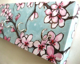 """Cherry Blossom Jewelry Holder and Key Rack  Blue and Pink Cherry Blossoms, Japanese, Watercolor Painting """"Cherry Blossoms"""""""