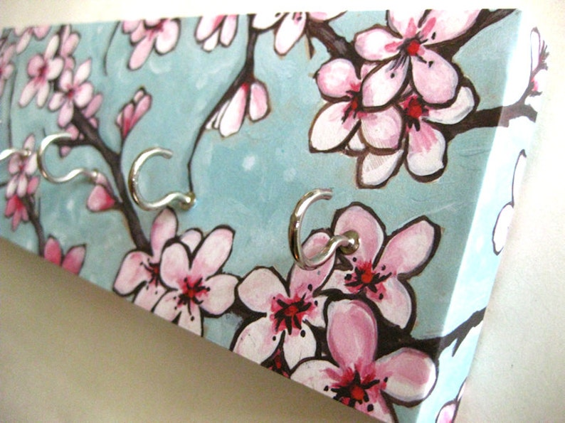Cherry Blossom Jewelry Holder and Key Rack  Blue and Pink image 0