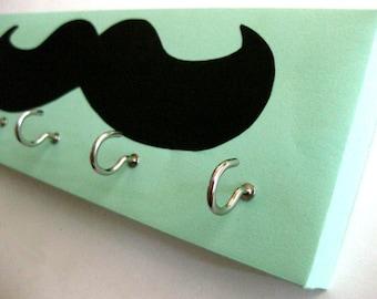 Mustache Key Rack Mustache Jewelry Holder Black Mustache Seafoam Green Aqua Background, light green, light aqua Blue Green
