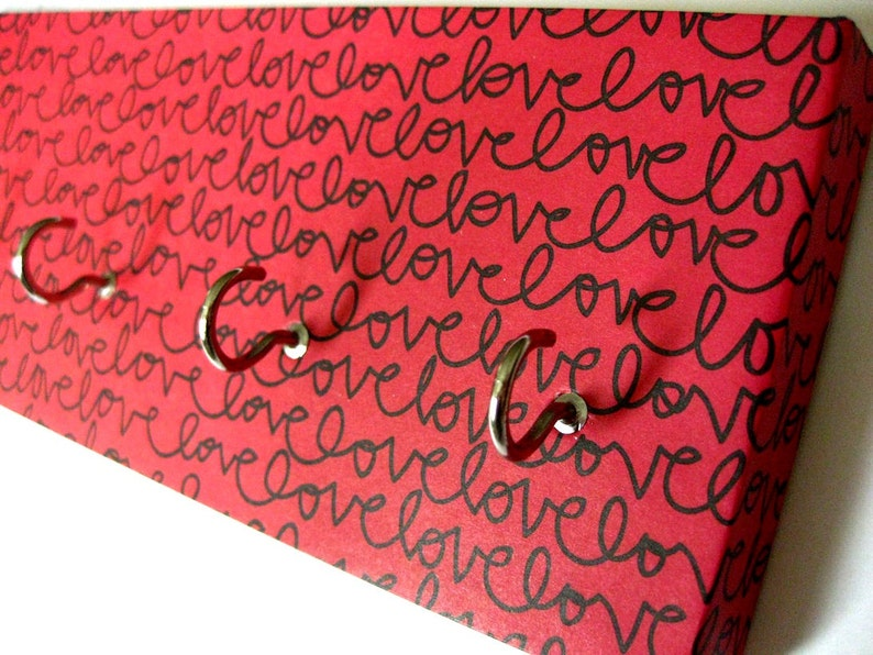 Love Key Rack Love Jewelry Holder Valentines Day Red and Black image 0