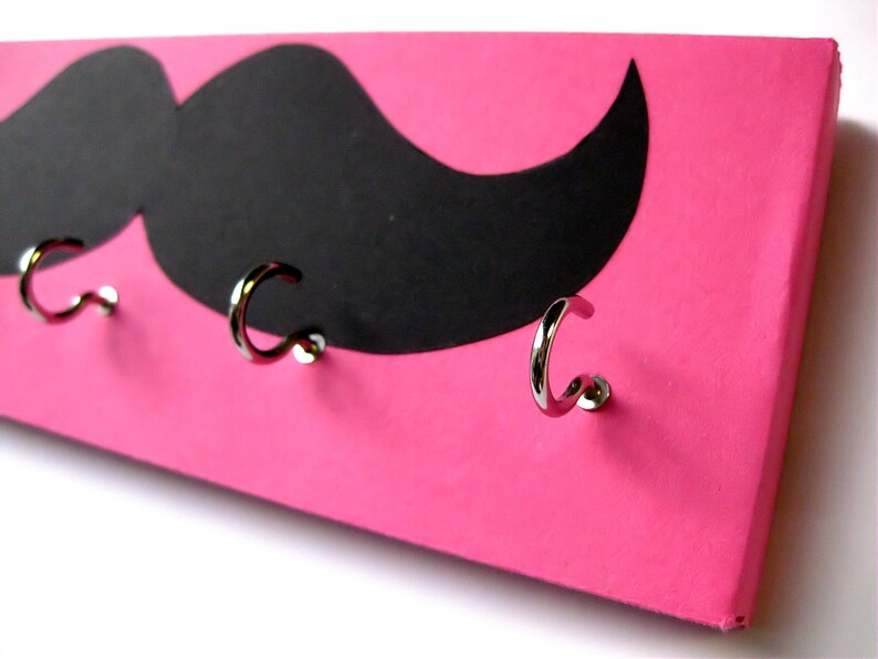 Mustache Jewelry Holder and Key Rack  Black Mustache on Pink image 0