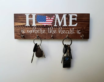 United States Key Rack - America Home is Where the Heart Is - Organizer, Key Hook, Patriotic Housewarming Gift, New House, Wedding Gift