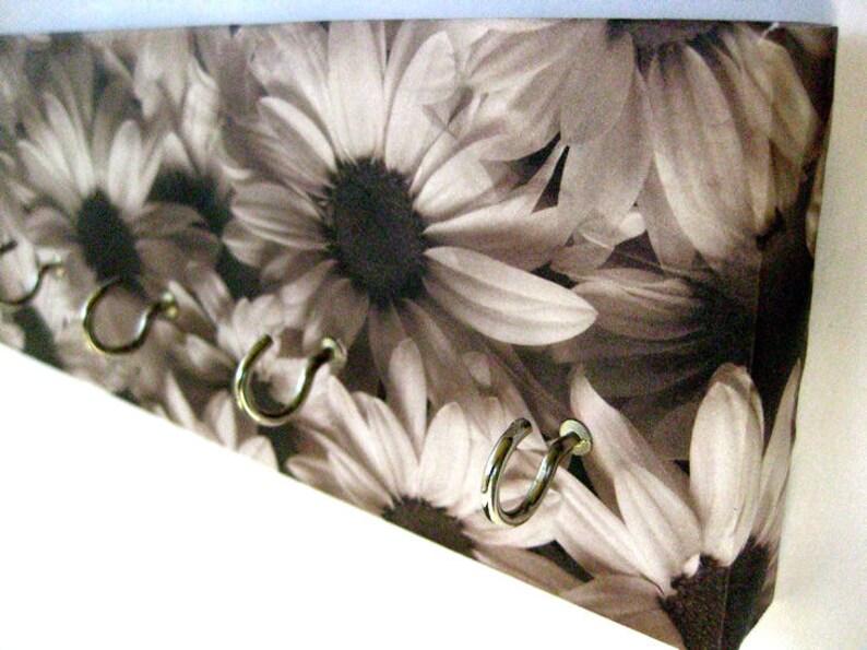 Daisy Jewelry Holder Flower Key Rack Black and White Daisies image 0