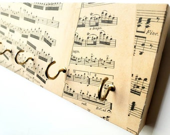 Sheet Music Jewelry Holder and Key Rack, Classical Music, Musical Decor Organizer, Jewelry Key and Mask Holder