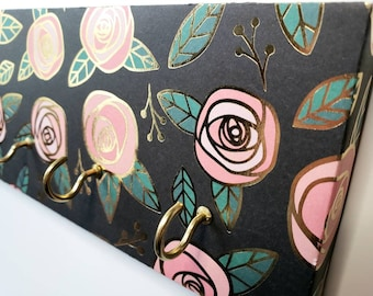 Rose Gold Jewelry Holder and Key Rack Pink Rose with Gold Trim, Teal,  Rose Organizer, Metallic Key, Jewelry, Mask Holder