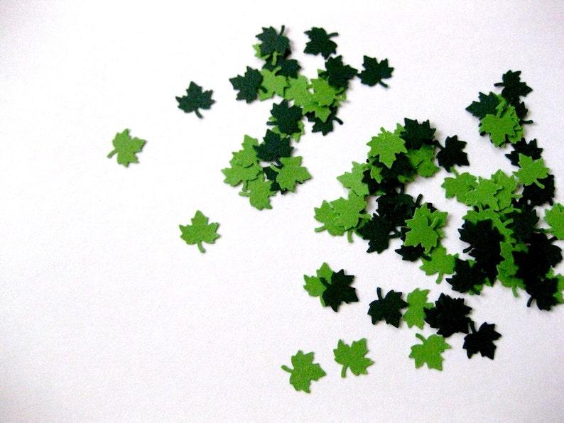 Mini Leaf Confetti  100 Count Leaf Die Cuts Light Green Dark image 0