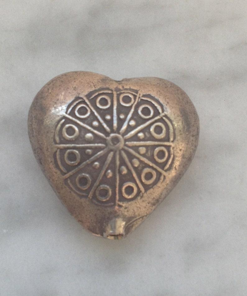 HT-118 Thai Hill Tribe Fine Silver Heart Bead or Pendant