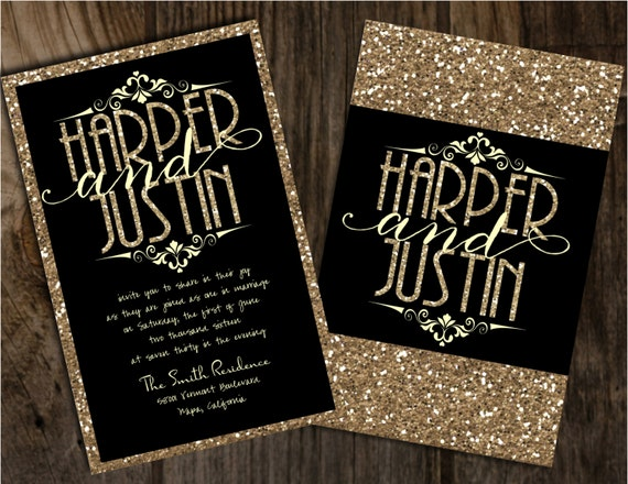 Black And Gold Wedding Invitation Black And Champagne Wedding Etsy
