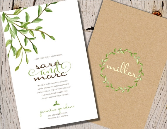 Garden Wedding Invitations Nature Wedding Invitations Rustic Etsy