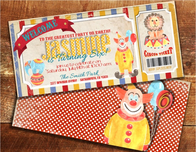 Circus Birthday Invitation Carnival Baby Shower Invitations Vintage