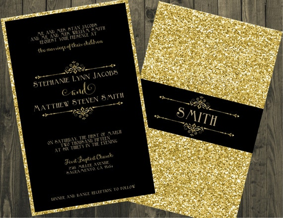 Gold Wedding Invitations.Black And Gold Wedding Invitation Glitter Wedding Invitations Gold Glitter Wedding Invitations