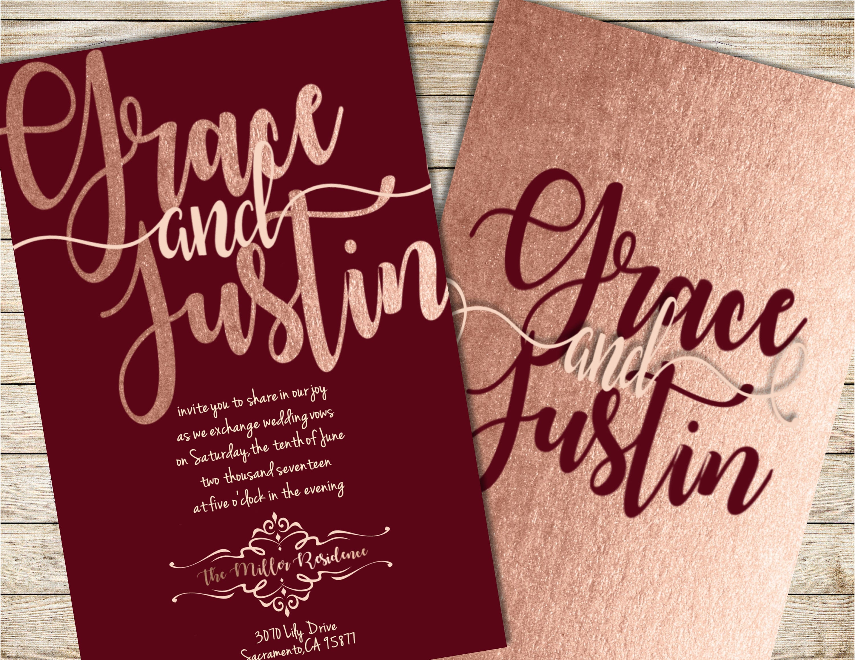 Burgundy and Blush Wedding Invitation Burgundy Wedding | Etsy
