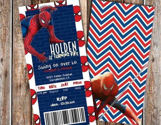 Spiderman Birthday Invitation Invitations Boy