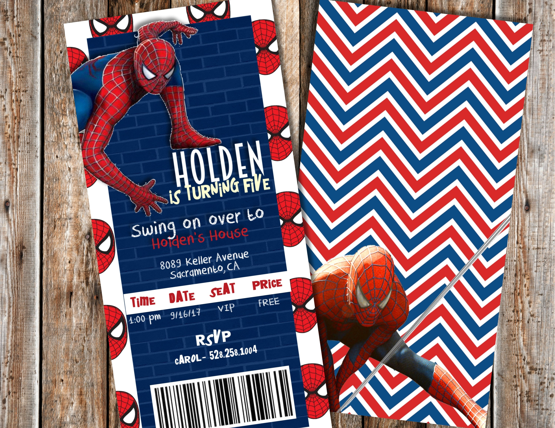 Spiderman Birthday Invitation Birthday Invitations Boy   Etsy