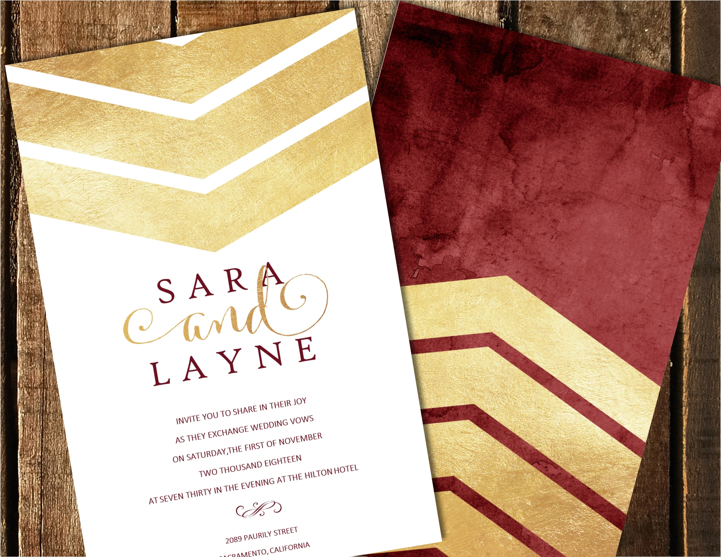 Burgundy and Gold Gold Foil Wedding Invitations Watercolor | Etsy