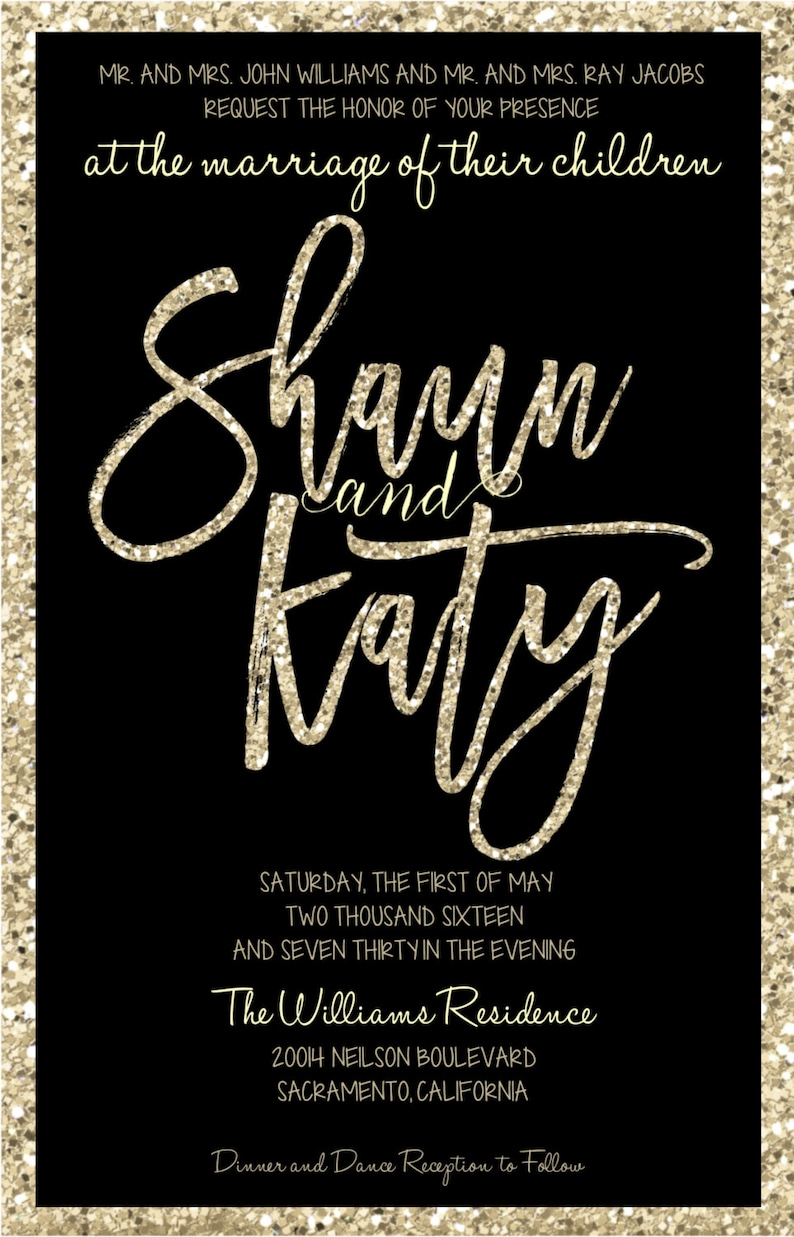 Black and Champagne Wedding Invitations Glitter Wedding Invitations Black and Silver Wedding Invitations Black and Gold Invitations
