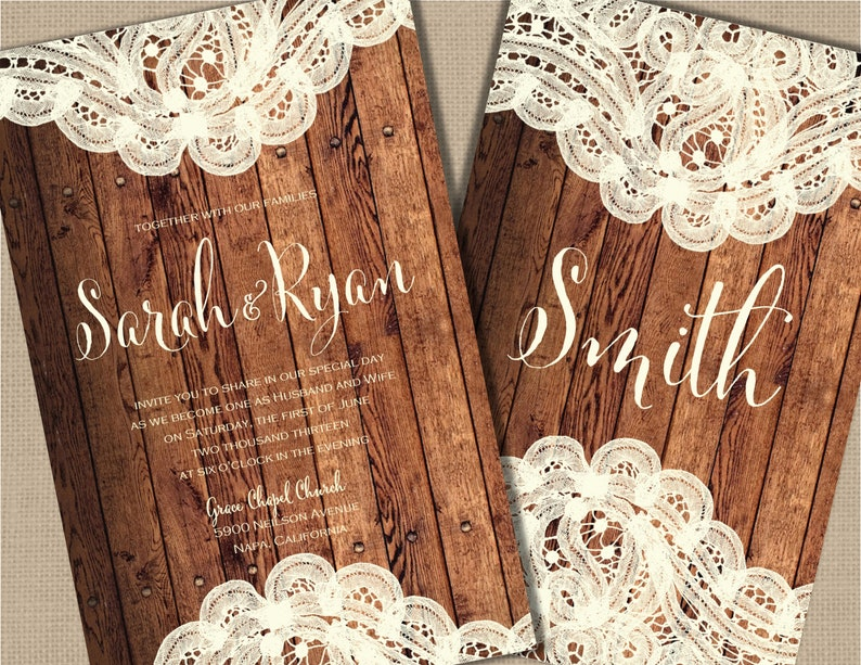 Wood And Lace Wedding Invitations Country Invitation Rustic