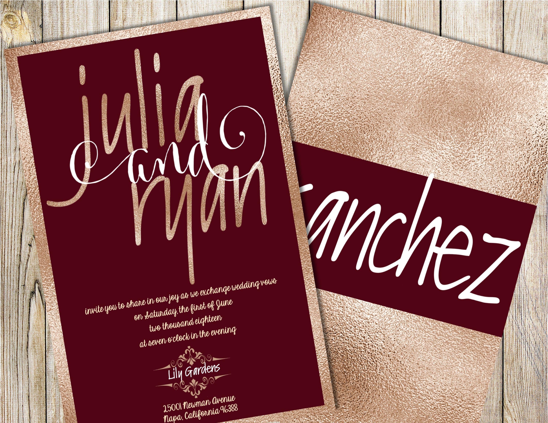 Burgundy and Champagne Wedding Invitation Maroon Wedding | Etsy