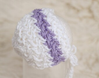 Newborn Knit Bonnet,  White Purple LilacTextured Hat, Photography Prop Baby Girl **READY TO SHIP** #332