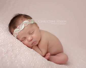 Newborn baby girl Sweet Pink and green flowers Headband Photography Prop #202
