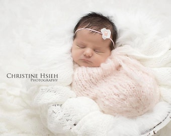 Beautiful pale pink Swaddle Sack Newborn Baby Photography Prop Knitted #400