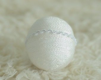 Newborn baby girl Sweet White Silver Pearl accent Halo Headband Photography Prop #372