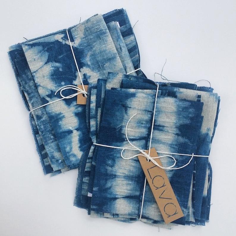 Shibori Linen Fabric Bundle Indigo Dyed Sampler for Boro and image 0