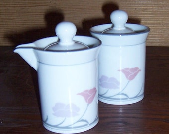 Out of Stock Dansk Tivoli Belle Fleur Gray pattern cream and sugar