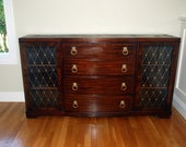 Price Drop - Colonial Manufacturing Co. Mahogany Bowfront Sideboard with Slant Front Secretary Desk, Etched Glass and Inlay