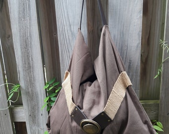 Brown Boho Style/ Hobo Bag w/ Leather Strap