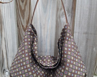 Diamond Print Fabric/ Hobo Bag