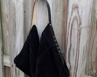 Black Suede Hobo Bag w/Patent Leather Strap