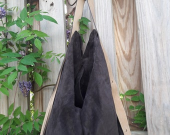 Brown Suede/ Boho Style Hobo Bag w/Leather Strap