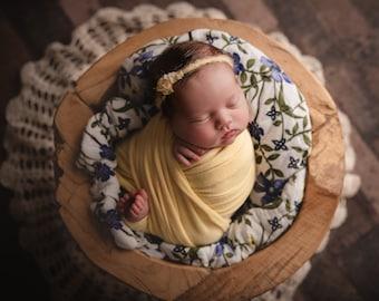 Cashmere Cozy Knit Wrap, Yellow Stretch Wrap,  Soft Newborn Wrap, Stretch Knit Wrap, Fuzzy Newborn Wrap, Newborn Photo Prop - yellow