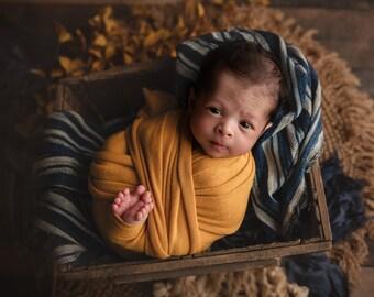 Cashmere Cozy Newborn Wrap, Newborn Stretch Wrap, Newborn Photo Prop, Mustard Stretch Wrap, Marigold Yellow Newborn Wrap