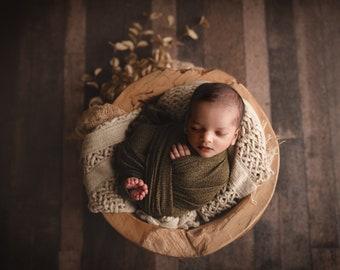 Textured Olive Newborn Wrap, Newborn Photo Prop, Green Stretch Wrap, Olive Knit Wrap, Olive Green Wrap. Newborn Stretch Wrap