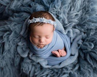 Blue BabyPlush Wrap, Newborn Photo Prop, Newborn Stretch Wrap, Newborn Brushed Wrap, Blue Stretch Wrap, Blue Baby Wrap