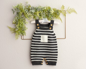Baby Boy Knit Romper, Sitter Knit Outfit, Baby Boy Knit Romper, Infant Photography Prop, Baby Photo Shoot Outfit, Knit Baby Outfit