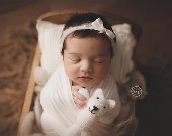 White BabyPlush Wrap, Newborn Photo Prop, Newborn Stretch Wrap, Newborn Brushed Wrap, White Stretch Wrap, White Baby Wrap
