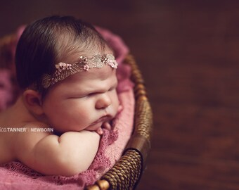 Embroidered Lace Headband, Baby Photo Prop, Pink Beaded Headband, Newborn Beaded Headband, RTS