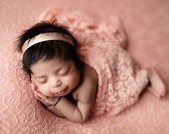 Newborn Lace Wrap, Newborn Photo Prop, Stretch Lace Wrap, Delicate Lace Wrap, Floral Lace Wrap - coral, taupe, cream, denim, olive