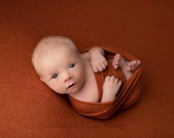 Jordan Newborn Wrap, Newborn Stretch Wrap, Newborn Photo Prop, Bronze Orange Stretch Wrap, Textured Newborn Wrap, Bronze Stretch Wrap