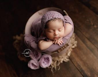 Ensley Newborn Bonnet, Speckled Baby Bonnet, Soft Baby Bonnet, Berry Red Newborn Bonnet, Beige Baby Bonnet, Newborn Hand Knit Bonnet