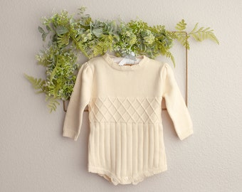 Knit Baby Romper, Sitter Knit Outfit, Long Sleeve Romper, Infant Photography Prop, Baby Photo Shoot Outfit, Knit Baby Outfit