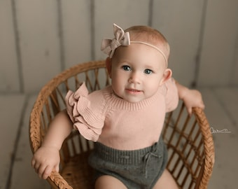 Baby Girl Knit Romper, Sitter Knit Outfit, Baby Girl Knit Ruffle Romper, Infant Photography Prop, Baby Photo Shoot Outfit, Knit Baby Outfit