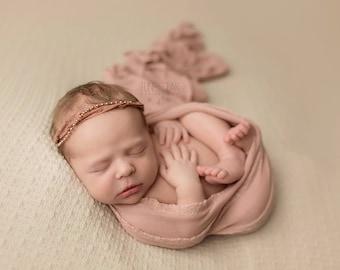 Rouge Ruffle Wrap, Newborn Ruffle Stretch Wrap, Newborn Photo Prop,Newborn Knit Ruffle Wrap, Baby Ruffle Wrap