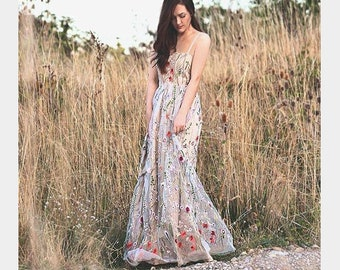 c2c56bb66724 Embroidered Tulle Dress with Straps, Floral Dress, Pink White Maxi Dress,  Floral Gown