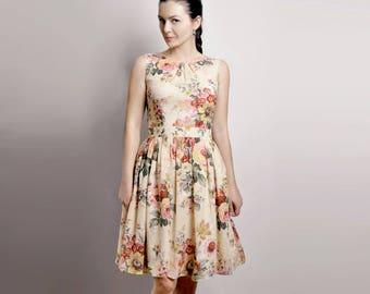 Floral Dress, Cotton Dress, Dress With Pockets, Custom made dress, Midi dress, 50's dress