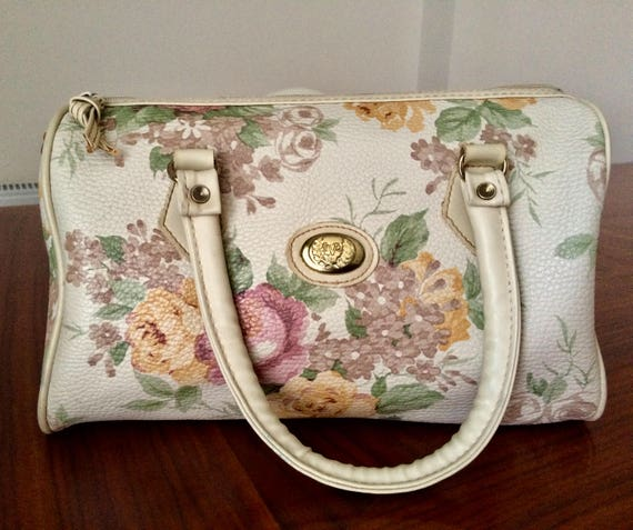 Vintage 1980's Floral Faux Leather Handbag