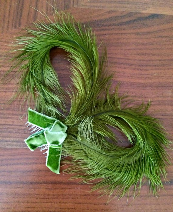 Vintage 1940's 1950's Green Feather Hair Comb Fasc